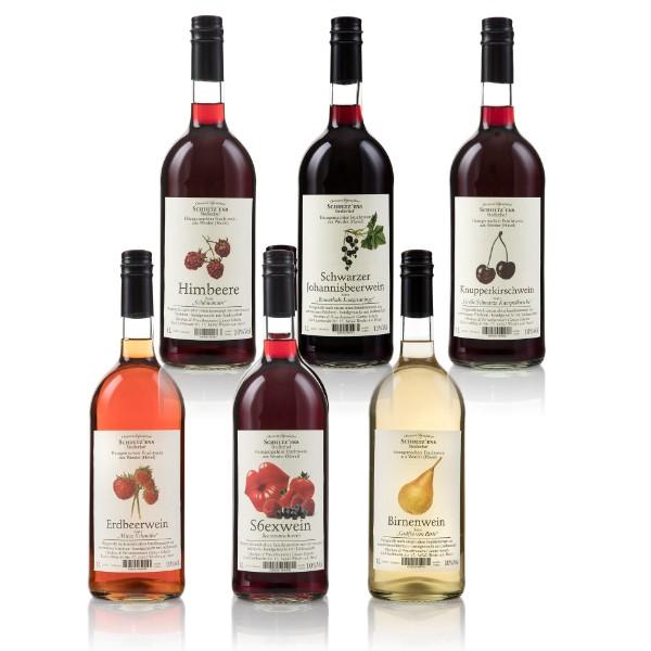 6x Obstwein (Knupper, Birne, Johannisbeere, Erdbeere, Sexwein, Himbeere)