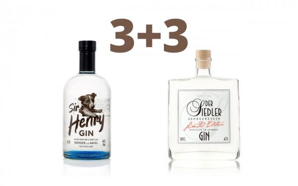 Gin Sommerpaket: 3* Sir Henry & 3* Der Siedler Gin
