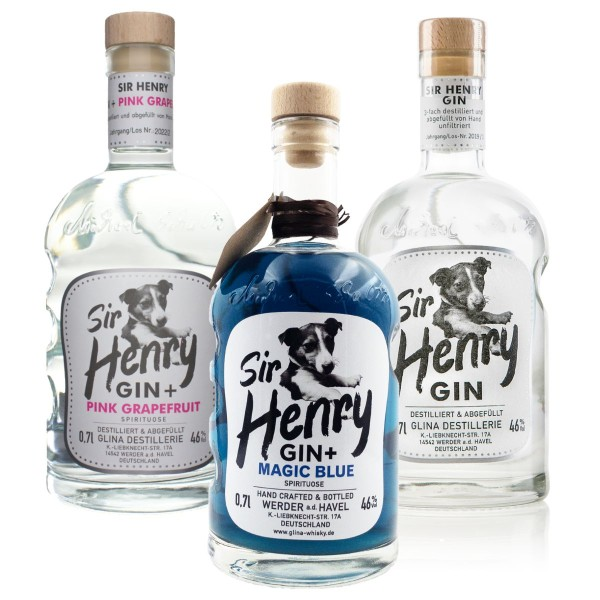 Sir Henry Gin | Mix Paket | Original, Magic Blue, Grapefruit | 3x 0,7L